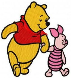 Winnie the Pooh and Piglet best friends machine embroidery design. Machine embroidery design. www.embroideres.com