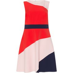 Studio 8 Red / Dark-Blue Plus Size Multicoloured A-line dress ($130) ❤ liked on Polyvore featuring dresses, plus size, red, fitted dresses, plus size red dress, flared dresses, plus size midi dresses and red flare dress