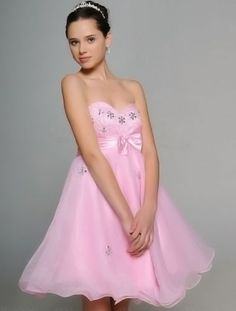 Pink Sweetheart Strapless Beaded Satin Organza Summer Cocktail Homecoming Dress