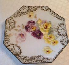 Antique Hand Painted Glass Octagonal Plaque Yellow & Purple Pansies Moriage Edge