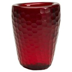 Vintage Murano Red Battuto Venini Art Glass Vase, circa 1940 | From a unique collection of antique and modern glass at https://www.1stdibs.com/furniture/dining-entertaining/glass/