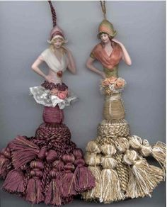 Tassel people; add doll tops to repurpose vintage curtain drapery tassels; upcycle, recycle, salvage, diy!  For ideas and goods shop at Estate ReSale & ReDesign, Bonita Springs, FL