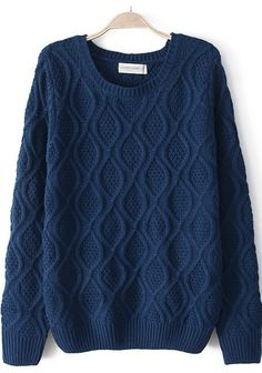 Blue Geometric Print Round Neck Cotton Blend Sweater