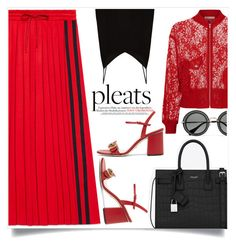 """Give me pleats!"" by alaria on Polyvore featuring Maje, Gucci, Yves Saint Laurent, Raey, Miu Miu, pleatedskirts and pleats"