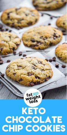 Keto chocolate chip cookies are one of my favourite keto cookies. These low carb cookies are the perfect recipe for any occasion; make them for keto workplace treats, a sneaky treat for yourself, or a sneaky healthy treat for the kids. #ketocookies #ketodesserts Sugar Free Cookies, Sugar Free Desserts, Sugar Free Recipes, Keto Cookies, Low Carb Desserts, Low Carb Recipes, Sweet Recipes, Easy Recipes, Cookie Recipes