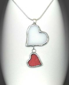Stained Glass Dancing Hearts Pendant