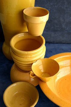 Pottery Still Life ~ Amber and Blue