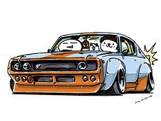 "car illustration ""crazy car art"" jdm japanese old school ""KenMeri"" original characters ""mame mame rock"" / © ozizo"