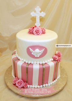 Frostings by Judy - Faith Celebrations - Pink Cherub Baptism cake