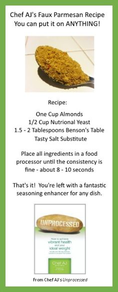 Chef AJ's faux parmesan recipe should be a staple for anyone on a Whole Food Plant Based Diet. And, it's delicious!