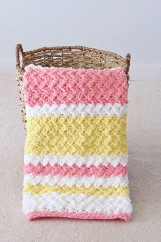 Try this easy and quick striped afghan free crochet pattern. This fast baby blanket will only take few hours and is great for a last minute gift. The textured stitch pattern is simple and perfect for beginners. Crochet Shell Pattern, Crochet Baby Blanket Free Pattern, Baby Afghan Crochet, Afghan Crochet Patterns, Free Crochet, Knitting Patterns, Baby Afghans, Baby Blankets, Pink Baby Blanket