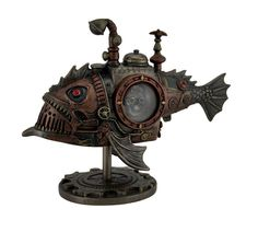 "8.5"" Steampunk Submarine Melanocetus - Unus Anglerfish Statue Sculpture Figure"