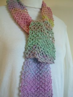 Knit Scarf  Soft Pastels    Hand Knit  Scarf by by AuntBsAttic, $24.00