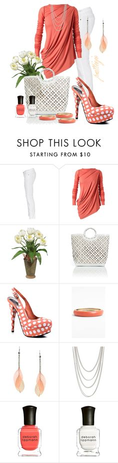 """""""Coral Belle"""" by rockreborn ❤ liked on Polyvore featuring Current/Elliott, Rick Owens Lilies, Nearly Natural, Nancy Gonzalez, Bebe, Sequin, Lipsy, FOSSIL, Deborah Lippmann and coral top"""