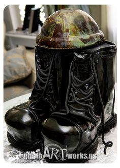 Army Boots Groom Cake by johnniekake, via Flickr