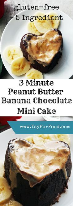 This doesn't get any easier! 5 ingredients and 3 minutes (or faster) from start to finish to get a tasty, gluten-free mini chocolate cake with peanut butter and banana. An easy microwave creation! Best Gluten Free Desserts, Best Dessert Recipes, Healthy Desserts, Easy Desserts, Gluten Free Recipes, Delicious Desserts, Fruit Recipes, Amazing Recipes, Cupcake Recipes