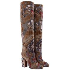 Pre-owned Boots in baroque style (38.685 RUB) ❤ liked on Polyvore featuring shoes, boots, ochre, brown high heel boots, leather sole boots, black leather shoes, black high heel shoes and black embroidered boots
