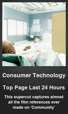 Top Consumer Technology link on telezkope.com. With a score of 555. --- This supercut captures almost all the film references ever made on 'Community'. --- #consumertechnology --- Brought to you by telezkope.com - socially ranked goodness
