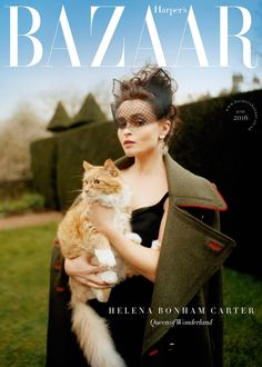 Helena Bonham Carter by Tom Craig for Harper's BAZAAR UK June 2016 cover - Stella McCartney dress, Burberry Prorsum coat Crazy Cat Lady, Crazy Cats, Animals And Pets, Cute Animals, Celebrities With Cats, Celebs, Son Chat, Uk Magazines, Fashion Magazines