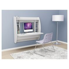 Floating Desk with Storage White - Prepac : Target