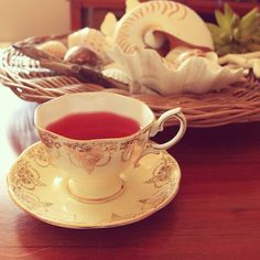 mmm...#teatime #T2tea  Turkish cherry + Turkish apple  @royalalbertaus #royalalbert #vintagechina