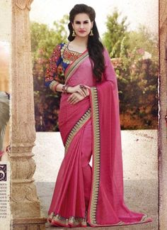 Girlish Hot Pink Faux Georgette Patch Border Work Saree http://www.angelnx.com/Sarees/Party-Wear-Sarees