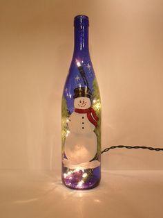 Lighted Wine Bottle Cobalt Blue Snowman Hand Painted wine bottle crafts with lights Wine Glass Crafts, Wine Craft, Cork Crafts, Wine Bottle Crafts, Mason Jar Crafts, Holiday Crafts, Wine Bottle Art, Painted Wine Bottles, Lighted Wine Bottles
