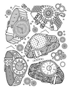 'Watches' : A page from 'The Best Jewelry adult coloring book', available here, From the gallery : Fashion & Clothing