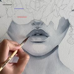 Lips by Polina Bright watercolourpainting watercolor watercoloursketch art artwork East Urban Home Canvas Print Rags to Riches by Julie Ahmad