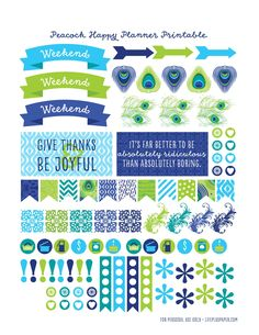Free Printable Peacock Planner Stickers from LifePlusPaper.com