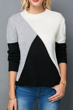 Der neue Round Neck Long Sleeve Color Block Knitting Sweater - Trend Way Dress , Vogue Knitting, Knitting Yarn, Free Knitting, Knitting Sweaters, Knitting Machine, Start Knitting, Women's Sweaters, Stylish Tops For Girls, Trendy Tops For Women