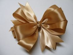 4 inch Dijon Old Gold Solid Simple  Satin Hair Bow  by HareBizBows