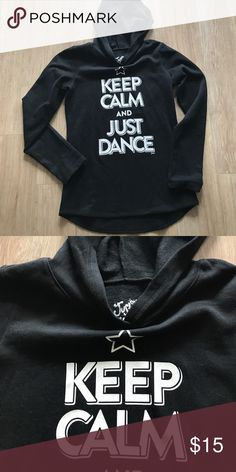 Girls Justice fleece hoodie as 12 keep calm dance Super soft and like new!  Justice hoodie. Was worn once!  For a few years my daughter loved clothes about  dance, but this came at the tail end of that so she only wore it once. So soft!!! Justice Shirts & Tops Sweatshirts & Hoodies
