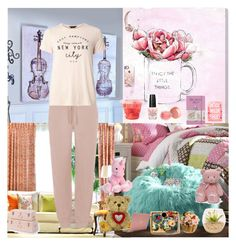 """""""Lazy Set (Stay At Home)🥞🏠🐶"""" by oksana-kolesnyk ❤ liked on Polyvore featuring Oliver Gal Artist Co., Improvements, Haute House, PBteen, Komodo, Dorothy Perkins, Moleskine, Gund, OPI and Lipstick Queen"""