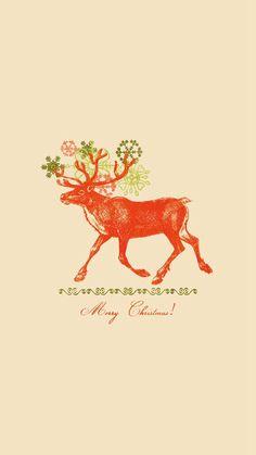 Merry Christmas Vintage Reindeer Illustration #iPhone #6 #plus #wallpaper