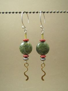 Handcrafted Wire Work Green and Red Earrings / by something2magpie