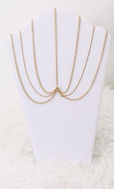 Quinn:  This amazing boho style head chain has three layers of gold plated chains that tier downward from the center chain.  It is adjustable for your little doll to grow into. www.petitespoupees.ca