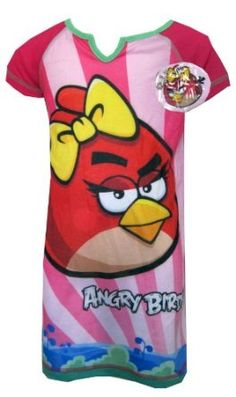 13a1c78ee22 Angry Birds Pink Striped Night Gown for girls Gowns For Girls