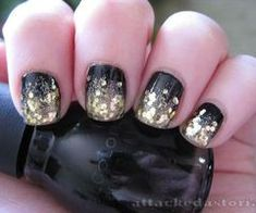 loveee. Black with gold glitter tips #Nails