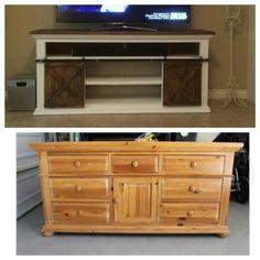 Old Dresser Repurposed Into Barn Doors Tv Credenza