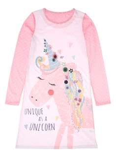 Perfectly comfortable, this pink unicorn print nightie features long sleeves and a scalloped trim around the neckline. This nightie is sure to keep her warm in the colder months. Pair with matching slippers.<br /><ul><li>Girls pink unicorn nightie</li><li>Scallop trim neckline</li><li>Long sleeves</li><li>Soft material</li><li>Keep away from fire</li></ul>