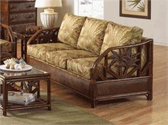 Havana Palm Upholstered Queen Sleeper Sofa - Liked @ www.homescapes-sd.com #staging San Diego home stager (760) 224-5025