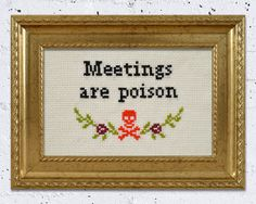 FRAMED Meetings are poison office art quote cross by AManicMonday, €25.00