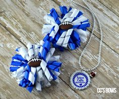 Indianapolis Colts NFL Football Girls Toddlers Korker Hair Bows & Chain Necklace #Handmade