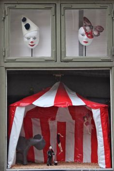 "Circus tent Window display. If you have a large window, one trick is to put a ""window"" inside the window. In this example, a tent in which to display the product. #millinery #judithm #hats"