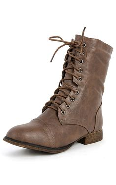 Beyonce-62 Lace Up Combat Boots BROWN