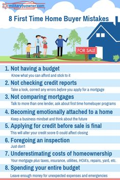 Common Mistakes that First-Time Home Buyers Make - Home Buying - Home Buys ideas - - 8 First Time Home Buyer Mistakes Home Buying Checklist, Home Buying Tips, Home Buying Process, Moving Checklist, Home Selling Tips, Renting Vs Buying Home, Real Estate Quotes, Real Estate Tips, Real Estate Flyers