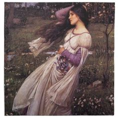 Windflowers-by John William Waterhouse 1902 Cloth Napkin - artists unique special customize presents