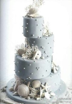 #Beach wedding cake... Wedding ideas for brides, grooms, parents & planners ... https://itunes.apple.com/us/app/the-gold-wedding-planner/id498112599?ls=1=8 … plus how to organise an entire wedding ♥ The Gold Wedding Planner iPhone App ♥