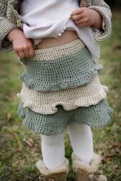 crochet skirt - ruffled tiers for little girl
